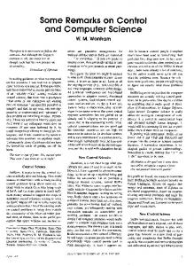 Some Remarks on Control and Computer Science - IEEE Control ...