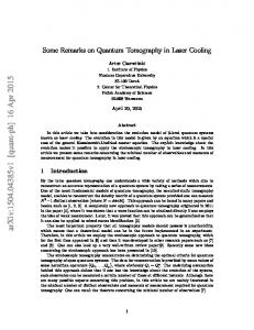 Some Remarks on Quantum Tomography in Laser Cooling