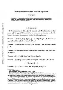 Some Remarks on the Fermat Equation
