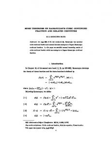 SOME THEOREMS ON RAMANUJAN'S CUBIC