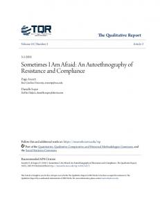 Sometimes I Am Afraid: An Autoethnography of Resistance and ... - Core