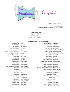 Song List - Myriad Talent