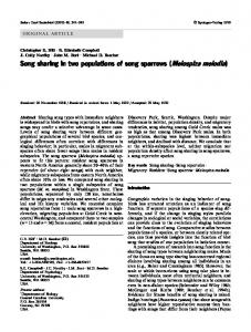 Song sharing in two populations of song sparrows ... - Springer Link