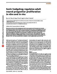 Sonic hedgehog regulates adult neural progenitor ... - Semantic Scholar
