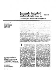Sonography During Early Pregnancy: Dependence of ...