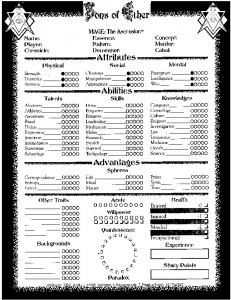 Sons of Ether Character Sheets