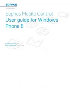 Sophos Mobile Control User guide for Windows Phone 8