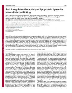 SorLA regulates the activity of lipoprotein lipase by intracellular ...
