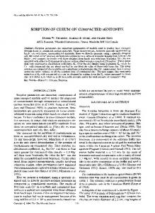 sorption of cesium on compacted bentonite - The Clay Minerals Society