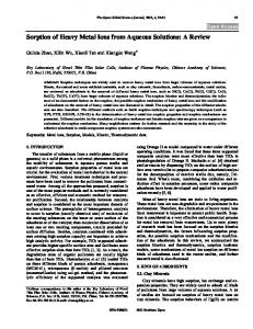 Sorption of Heavy Metal Ions from Aqueous