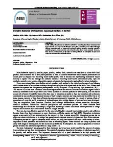Sorptive Removal of Dyes from Aqueous Solution