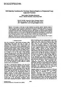 SOS Stability Conditions for Nonlinear Systems ... - Semantic Scholar