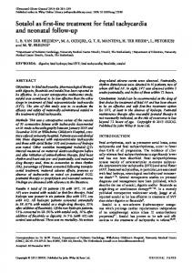 Sotalol as firstline treatment for fetal tachycardia and