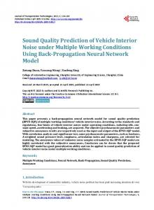 Sound Quality Prediction of Vehicle Interior Noise under Multiple ...