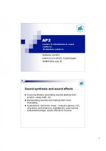 Sound synthesis and sound effects