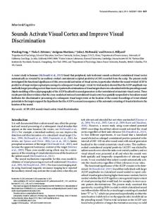 Sounds Activate Visual Cortex and Improve Visual ... - Semantic Scholar