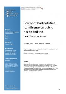 Source of lead pollution, its influence on public health ...