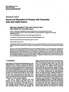 Sources of Discomfort in Persons with Dementia: Scale and Initial ...