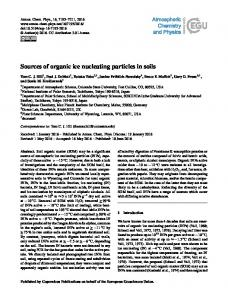 Sources of organic ice nucleating particles in soils - Atmospheric