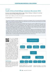 South African food allergy consensus document 2014