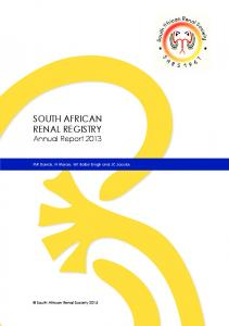 South AfricAn renAl regiStry - South African Renal Society