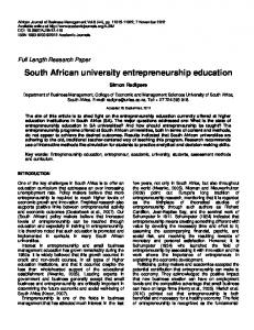 South African university entrepreneurship ... - Academic Journals