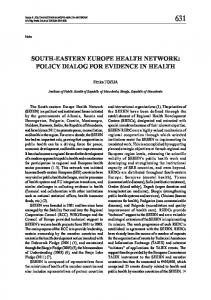 SOUTH-EASTERN EUROPE HEALTH NETWORK: POLICY DIALOG ...