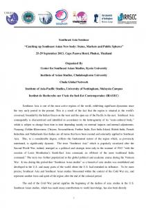 Southeast Asia Seminar - Southeast Asian Studies for Sustainable ...