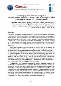 Sovereignty and Nuclear Weapons - Cadmus Journal