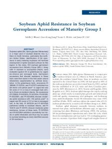 Soybean Aphid Resistance in Soybean Germplasm Accessions of ...
