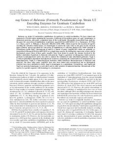 sp. Strain U2 Encoding Enzymes for Gentisate Catabolism - Journal of ...