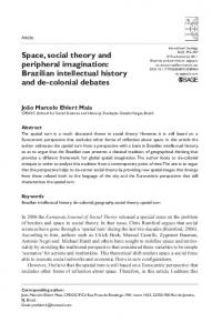 Space, social theory and peripheral imagination ... - SAGE Journals