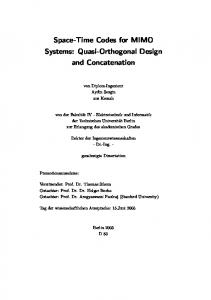 Space-Time Codes for MIMO Systems: Quasi ... - Semantic Scholar