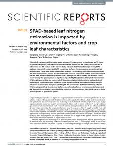 SPAD-based leaf nitrogen estimation is impacted ... - Semantic Scholar