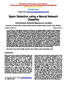 Spam Detection using a Neural Network Classifier (PDF Download ...