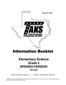 SPAN 5 Science Info Booklet - Texas Education Agency