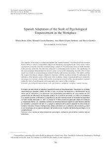Spanish Adaptation of the Scale of Psychological