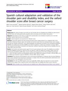 Spanish cultural adaptation and validation of the