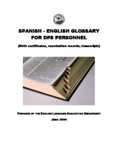 SPANISH - ENGLISH GLOSSARY FOR DPS PERSONNEL