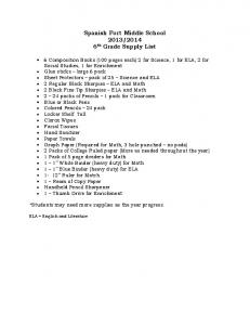 Spanish Fort Middle School 2013/2014 6th Grade Supply List
