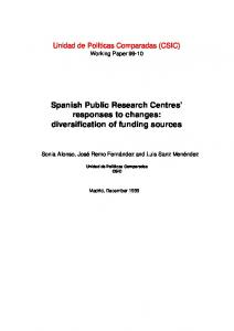 Spanish Public Research Centres' responses to changes ... - CiteSeerX
