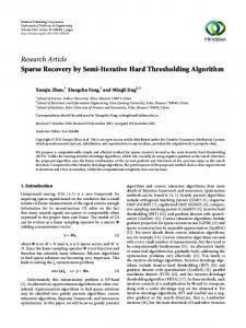 Sparse Recovery by Semi-Iterative Hard Thresholding Algorithm