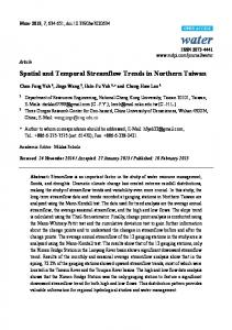 Spatial and Temporal Streamflow Trends in Northern Taiwan