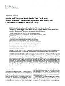 Spatial and Temporal Variation in Fine Particulate Matter Mass and ...