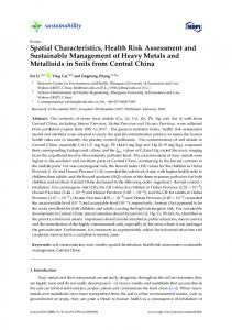 Spatial Characteristics, Health Risk Assessment and ... - MDPI