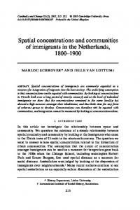 Spatial concentrations and communities of immigrants in the ...
