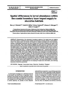 Spatial differences in larval abundance within the coastal boundary ...