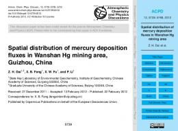 Spatial distribution of mercury deposition fluxes in Wanshan Hg