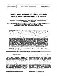 Spatial patterns in activity of leopard seals Hydrurga leptonyx in ...