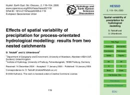 Spatial variability of precipitation for hydrological modelling - CiteSeerX